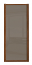Shaker Sliding Wardrobe Door- WALNUT FRAME- CAPPUCCINO GLASS  SINGLE PANEL